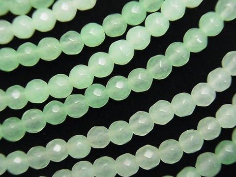 1strand $5.79! Pastel Green Jade 32Faceted Round 4mm 1strand (aprx.15inch / 36cm)
