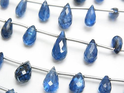 1strand $39.99! High Quality Kyanite AAA Drop Faceted Briolette [Dark Color] 1strand (aprx.7inch / 17cm)