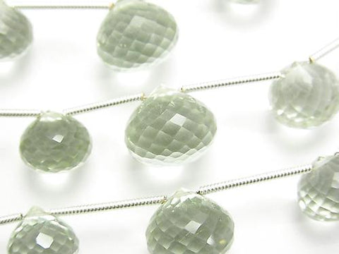 1strand $29.99! High Quality Green Amethyst AAA Onion Faceted Briolette 1strand (aprx.6inch / 16cm)