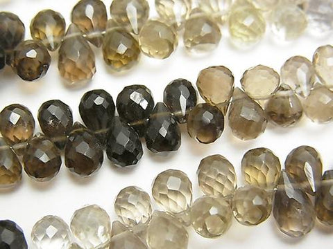 High Quality Smoky Crystal Quartz AAA Drop Faceted Briolette Color Gradient half or 1strand (aprx.7inch / 18cm)