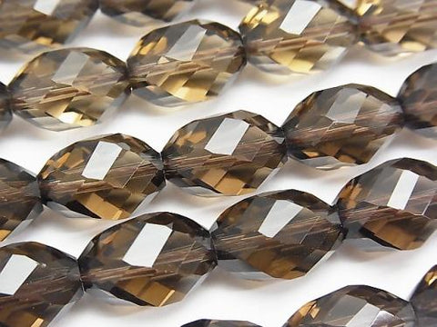 Diamond Cut!  Smoky Crystal Quartz AAA 6Faceted Twist xMultiple Facets Faceted Rice 14x10x10mm 1/4 or 1strand (aprx.15inch/37cm)