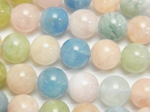 Beryl mix (multicolor Aquamarine) AAA-Round 10mm half or 1strand (aprx.15inch / 38cm)