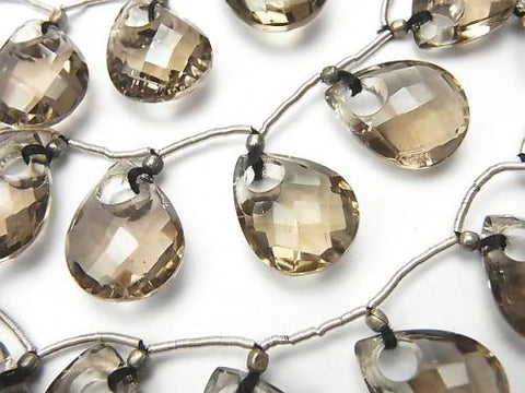 1strand $44.99! High Quality Smoky Crystal Quartz AAA Donut Faceted Pear Shape 1strand (7pcs)