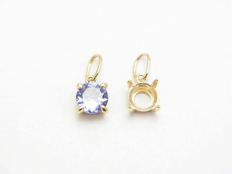 Made in Japan! K10YG Pendant Blank Frame (Bezel) 1 pc $25.99 for Brilliant Cut 4mm!