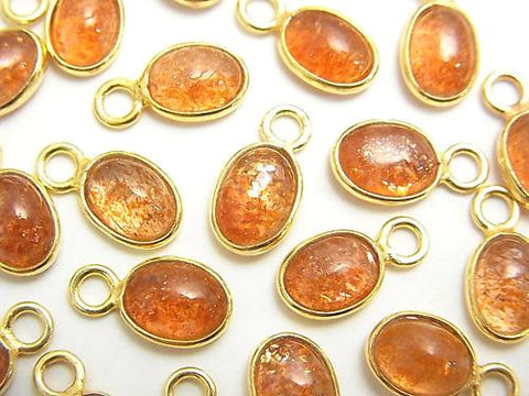 High Quality Sun Stone AAA Bezel Setting Oval 8x6mm [One Side ] 18KGP 5pcs $11.79!