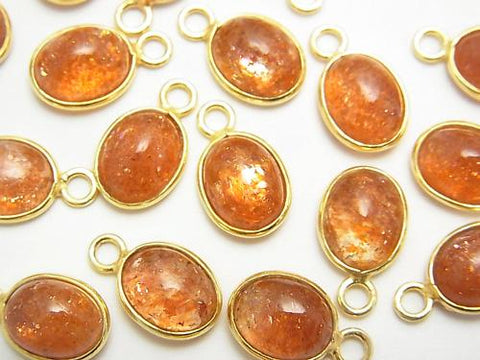 High Quality Sun Stone AAA Bezel Setting Oval 10x8mm [One Side ] 18KGP 5pcs $19.99!