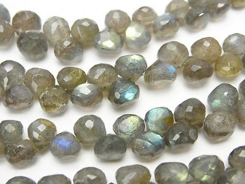 High Quality Labradorite AAA- Onion  Faceted Briolette  half or 1strand (aprx.7inch/17cm)