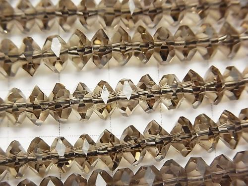Diamond Cut!  Smoky Crystal Quartz AAA Faceted Button Roundel 8x8x4mm 1/4 or 1strand (aprx.15inch/38cm)