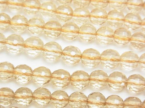 1strand $9.79! Champagne Color Quartz AAA 128 Faceted Round 6mm 1strand (aprx.15inch / 38cm)