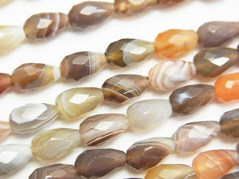 Botswana Agate  Vertical Hole Faceted Drop 10x6x6mm half or 1strand (aprx.15inch/38cm) - kenkengems.com