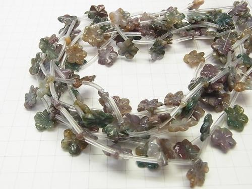Indian agate flower 15x15x3mm half or 1strand (aprx.15inch / 38cm)