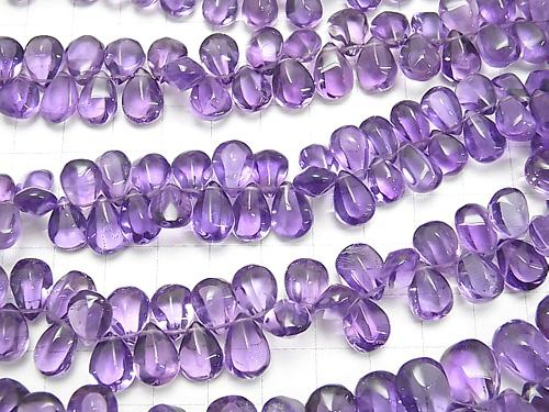High Quality Amethyst AAA- 4Faceted Pear shape [Light color] half or 1strand (aprx. 7inch / 18cm)
