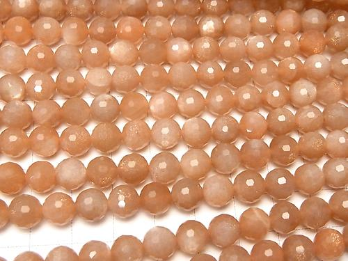Diamond Cut! Orange Moon Stone AAA-128Faceted Round 7mm half or 1strand (aprx.15inch / 36cm)