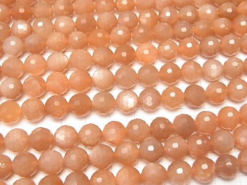 Diamond Cut! Orange Moon Stone AAA-128Faceted Round 9mm half or 1strand (aprx.15inch / 36cm)