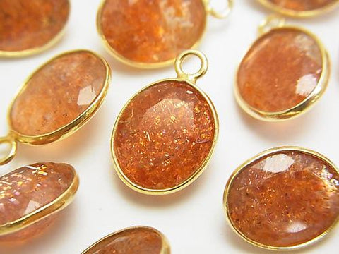 High Quality Sun Stone AAA Bezel Setting Oval Faceted 13x11mm [One Side ] 18KGP 3pcs $27.99!
