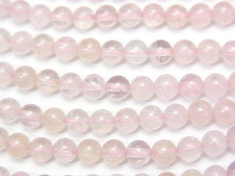 High quality Morganite AAA Round 4mm half or 1strand (aprx.15inch / 38cm) - kenkengems.com