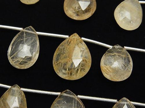 1strand $24.99! Rutilated Quartz AA++ Pear shape  Faceted Briolette  1strand (aprx.7inch/18cm)