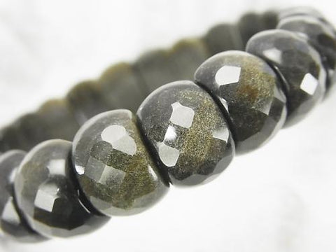 Golden Shine Obsidian AAA 2 Holes Faceted Oval 14x9x8mm 1strand (Bracelet)