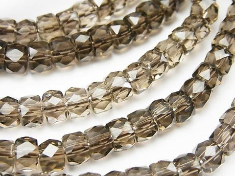 Diamond Cut!  High Quality Smoky Crystal Quartz AAA Faceted Button Roundel 6x6x4mm 1strand (Bracelet)