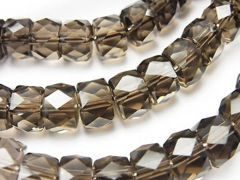 Diamond Cut!  High Quality Smoky Crystal Quartz AAA Faceted Button Roundel 9x9x6mm 1strand (Bracelet)