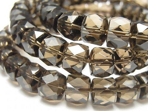 Diamond Cut!  High Quality Smoky Crystal Quartz AAA Faceted Button Roundel 10x10x7mm 1strand (Bracelet)