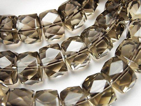 Diamond Cut!  High Quality Smoky Crystal Quartz AAA Faceted Button Roundel 12x12x8mm 1strand (Bracelet)