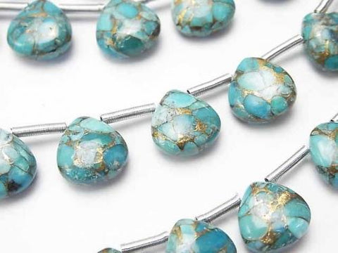 Blue Copper Turquoise AAA Chestnut (Smooth) 10x10mm half or 1strand (10pcs)