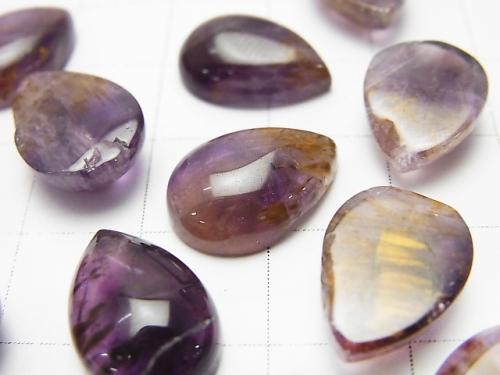 Cacoxenite  in Amethyst AA++ Pear shape Cabochon 14x10mm 3pcs $19.99!