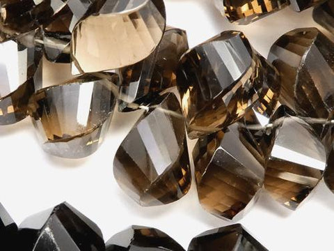 High Quality Smoky Crystal Quartz AAA 4Faceted Twist  Drop  Faceted Briolette  5pcs or 1strand (aprx.5inch/12cm)
