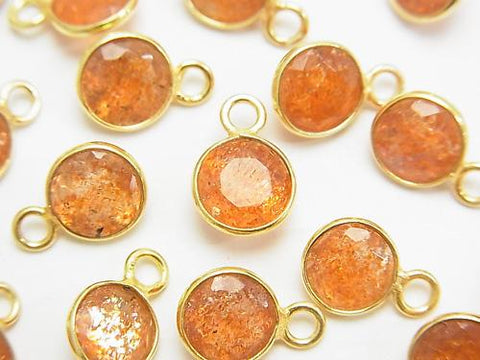 High Quality Sun Stone AAA Bezel Setting Coin Faceted 8x8mm [One Side ] 18KGP 5pcs $16.99!
