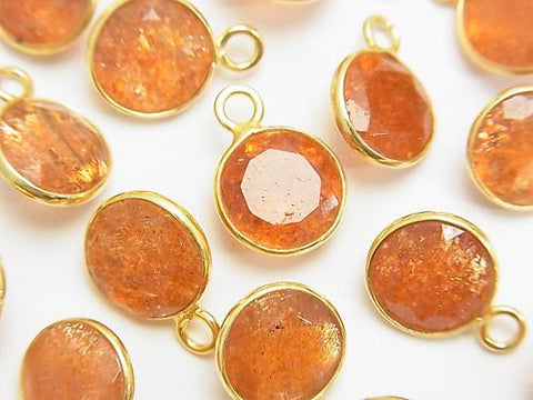 High Quality Sun Stone AAA Bezel Setting Coin Faceted 10x10mm [One Side ] 18KGP 3pcs $18.99!
