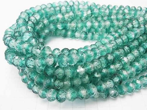 Lampwork Beads Faceted Button Roundel 10x10x7mm [Blue Green/Live Light Type] half or 1strand (aprx.14inch/34cm)