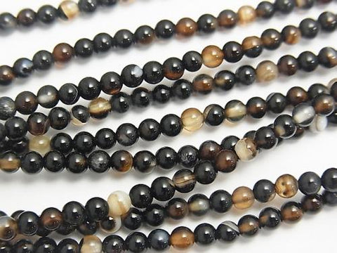 1strand $3.79! Black and Brown Agate AAA Round 3mm 1strand (aprx.15inch / 37cm)