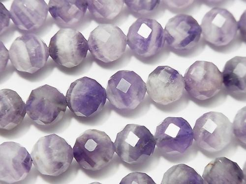 [Video] High Quality! Stripe Amethyst 64Faceted Round 8mm 1strand (aprx.15inch / 37cm)