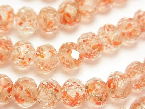 Lampwork Beads Faceted Button Roundel 10x10x7mm [Orange xGold] half or 1strand (aprx.13inch / 33cm)