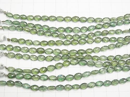 MicroCut! High Quality Green Apatite AAA Faceted Oval 1strand (aprx.4inch / 9cm)