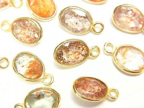 High Quality Multicolor Sun Stone AAA Bezel Setting Oval Faceted 9x7mm [One Side] 18KGP 5pcs $12.99!