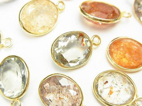 High Quality Multicolor Sun Stone AAA Bezel Setting Oval Faceted 12x10mm [One Side] 18KGP 5pcs $29.99!