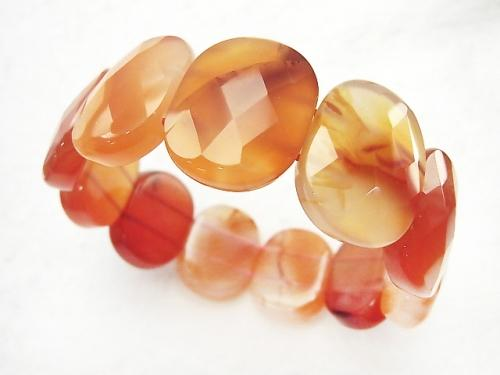 1strand $16.99! Carnelian AA ++ 2 Holes Faceted Oval 24x19x8mm 1strand (Bracelet)
