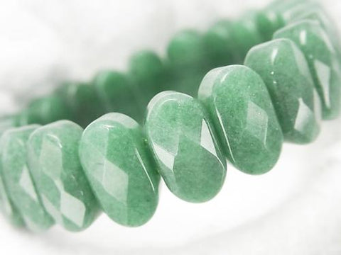 Green Aventurine 2 Holes Faceted Oval 15x8x7mm1strand (Bracelet)