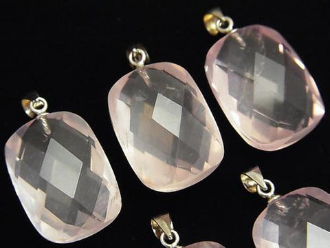 High Quality MadagascarRose Quartz AAA- Faced Rectangle 20x15x10mm Pendant 1pc