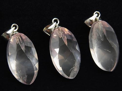 High Quality MadagascarRose Quartz AAA-Twist Faceted Marquise 21x12x10mm Pendant