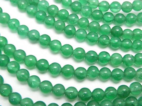 1strand $3.79! Green Color Crack Chalcedony Round 4mm 1strand (aprx.15inch / 38cm)