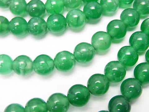 1strand $4.79! Green Color Crack Chalcedony Round 6mm 1strand (aprx.15inch / 38cm)
