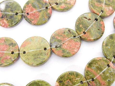 Unakite (Unakite) 2 holes Flat Coin [15mm] [20mm] half or 1strand (aprx. 15inch / 36cm)