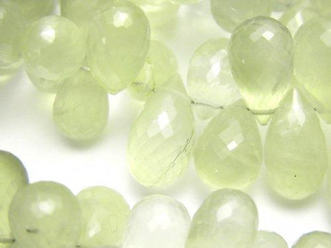 High Quality Prehnite AAA- Drop  Faceted Briolette  half or 1strand (aprx.7inch/18cm)
