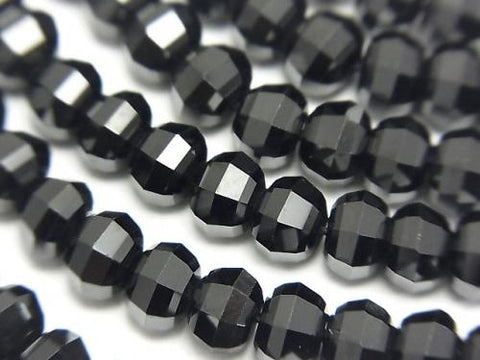 Diamond Cut! Black Spinel AAA Semi Faceted Round 6mm 1/4 or 1strand (aprx.15inch / 38cm)