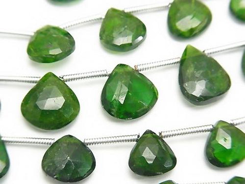 1strand $19.99 Chrome Diopside AA + Chestnut Faceted Briolette 1strand (aprx.7inch / 18cm)