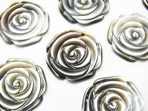 Black Shell (Black-lip Oyster) Rose  20mm 2pcs $3.79