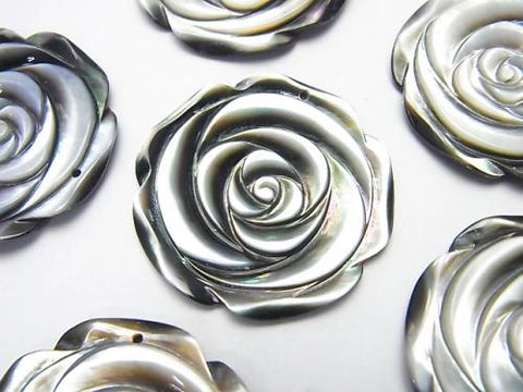Black Shell (Black-lip Oyster) Rose  30mm 1pc $3.79!